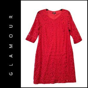 Glamour Women Lace Shift Dress Red Size 14W